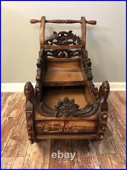 RARE Antique Black Forest Hand-Carved & Painted Wooden Sleigh/Sled from 1800s