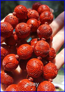 RARE Antique Vintage Chinese Carved Red Cinnabar SHOU Big Bead Necklace