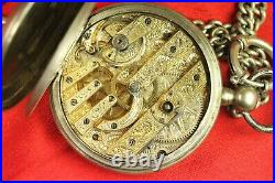 RARE BIG Antique Carved Movement Swiss Key-winding SILVER Pocket Watch W150