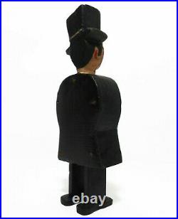 RARE EARLY 20TH C VINT AMERICAN FOLK/TRAMP ART MAN, WithTOP HAT CARVED WOOD FIGURE