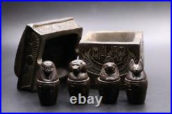 RARE EGYPTIAN ANTIQUES STATUE COFFIN of 4 CANOPIC JARS Carved EGYPT STONE BC