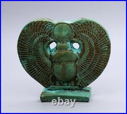 RARE EGYPTIAN WINGED SCARAB ANTIQUES Green Carved STONE EGYPT BC