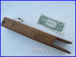 RARE Early Antique COLONIAL ROPE BED TIGHTENER, Hand CARVED From Wood, Hearth
