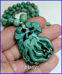 RARE Old Chinese Turquoise Carved Bead Pendant Orchid Flower Necklace UNTREATED