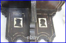 RARE PAIR french napoleon III wood carved inlaid figurines wall consoles shelf