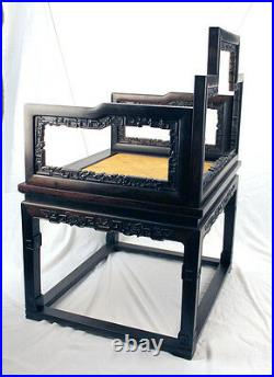 RARE Pair Chinese Xiaoye Zitan Hardwood Carved Low Back Arm Chair w No Mix Wood