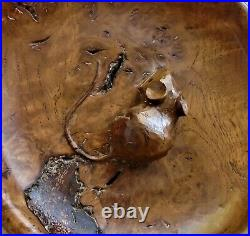 RARE ROBERT MOUSEMAN THOMPSON BURR OAK NUT BOWL with HAND CARVED MOUSE SIGNATURE