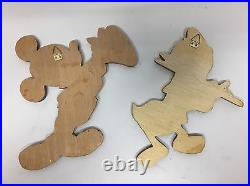 RARE Vintage Disney Wood Carvings Art Intarsias of Donald Duck + Mickey Mouse