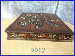RARE Vintage antique old wooden Notebook carving Ukraine Hutsul Hand made BOX