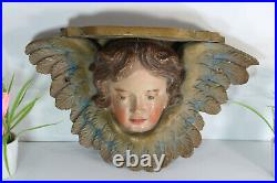 RAre L antique french wood carved polychrome angel head putti wall console