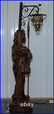 Rare 109cm Tall Circa 1920 Original Black Forest Hand Carved Wood Watchman Lamp