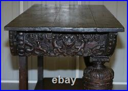 Rare 17th Century Hand Carved Oak Italian Console Serving Table Cherubs Angels