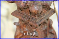 Rare 1880 Antique French Table lamp wood carved gargoyle dragon gothic castle