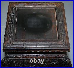 Rare 1880 Antique Hand Carved Wood Chinese Jardiniere Stand Pots Busts Display