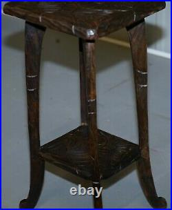 Rare 1905 Liberty's London Japanese Carved Side End Lamp Wine Table Jardiniere