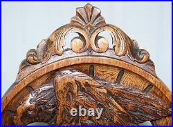 Rare 19th Century Black Forest Carved Hall Chair Hand Carved Hawk Bobbin Turned