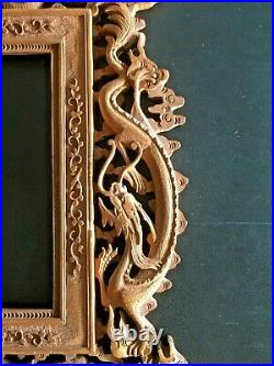 Rare 19th Century China Chinese Canton Hand Carved Wood Photo Frame
