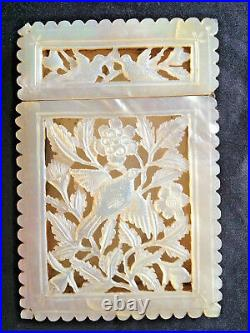 Rare 19th Century Chinese Carved Mother Of Pearl Card Case Box