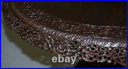 Rare 19th Cenutry Anglo Indian Padauk Table Hand Carved Rosewood Lions & Flowers