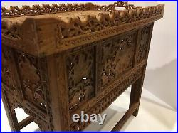 Rare Anglo Indian Folding Tray Table Butlers Wood Hand Carved With Inlay
