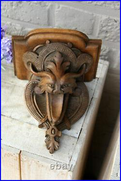 Rare Antique 1900 French neo gothic Devil head wood carved wall console n1