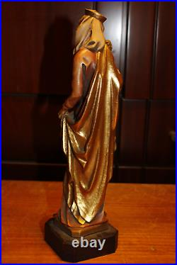 Rare Antique Anri 11 Wooden Carved Our Lady Madonna With Jesus Statue Figure