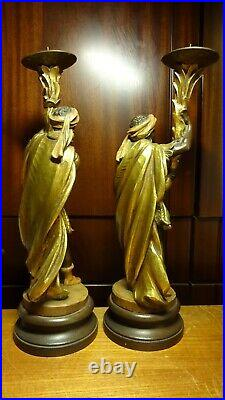 Rare Antique Anri 14 Pair Of Wood Carved Moor Candlestick Candle Holder Statue