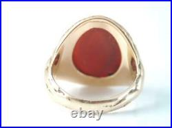 Rare Antique Art Nouveau 14k Solid Gold Carved Nude Women Carnelian Stone Ring