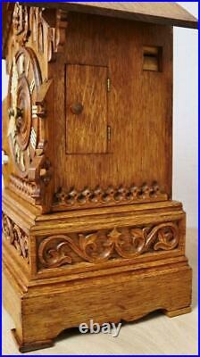Rare Antique Beha Carved 8 Day Black Forest Twin Fusee Cuckoo Bracket Clock