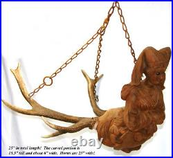 Rare Antique Black Forest Carved Wood & Antlers Ceiling Fixture, Chandelier