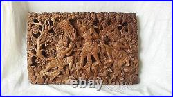 Rare Antique Carved Balinese Wood Panel of Figures Trees & Plants 19.25