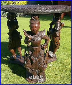 Rare Antique Carved Deity Figural Table Burmese/Anglo Indian Hindu