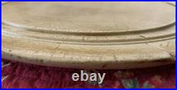 Rare Antique Carved Wood English Round Scalloped Edge Breadboard with Wheat Design