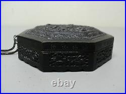 Rare Antique Chinese Bronze Feng Shui Lon Pon Compass, Intricate Carvings