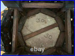 Rare Antique Chinese Carved Wood & Marble Side Table With Goat Heads Goat Feet