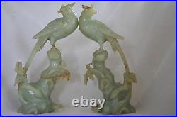 Rare Antique Chinese Export Hand Carving Huge Two Celadon Jade Bird Statue
