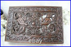 Rare Antique French Wood carved putti bible stand lectern religious church XIX
