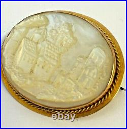 Rare Antique Gold Carved Mother Of Pearl Cameo Village & Church Scene Brooch Pin
