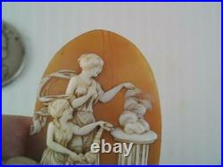 Rare Antique Victorian Carved Cameo 2 Maidens Casting Witches Spell