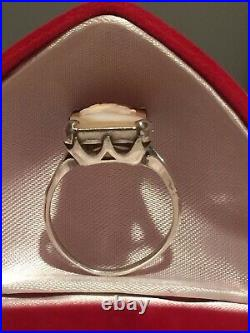 Rare Antique Victorian Solid Silver Naturally Carved Coral Lady Cameo Ring