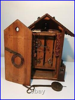 Rare Beha Twin Fusee Black Forest Carved 8-Day Cuckoo Clock