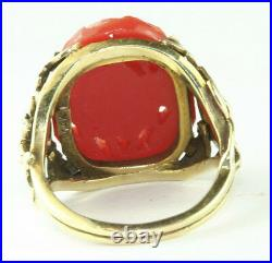 Rare Chinese Antique 14k Gold Carved Coral Carnelian Iris Flower Pearl Ring
