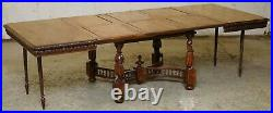 Rare Circa 1880 French Brittany Hand Carved Chestnut Wood Extending Dining Table