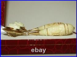 Rare, Exceptional, Long, Antique Victorian 18ct Gold Carved Coral Cameo Earrings