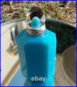 Rare Exquisite Victorian Solid Silver LID And Cabochon Carved Stone Scent Bottle