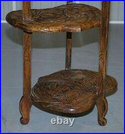 Rare Fully Stamped Y Hayashi 1905 Liberty's London Japanese Carved Side Table