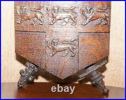 Rare Hand Carved 1587 Fighting Scots City Of York Coat Of Arms Armoiral Crest