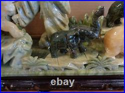 Rare Hand Carved Solid Jade 8 Elephant Mountain