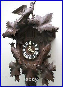 Rare Large Antique German Black Forest 3 Bird Deeply Hand Carved Cuckoo Clock