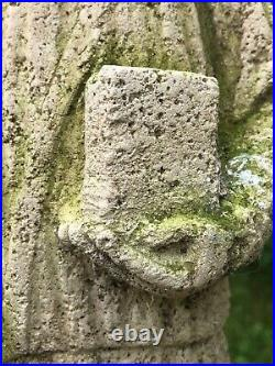 Rare Medieval 16th Century Antique Carved Stone Sculpture Religious Monk Bible